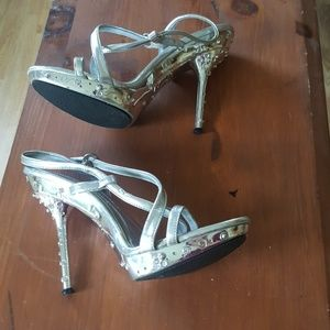 Chrome rhinestone strappy stilettos size 6